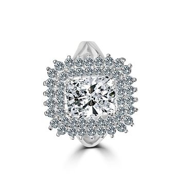 2 CT.(9x7mm) Intensely Radiant Emerald Cut Center Diamond Veneer Cubic Zirconia with Double Halo Pave Sterling Silver Electro-Plate Ring. 635R0247