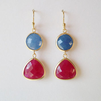 Ruby Gemstone and Blue Sapphire Gold Chandelier Earrings - Blue Earrings - Red Earrings - Gold Earrings - Mothers Day Gift
