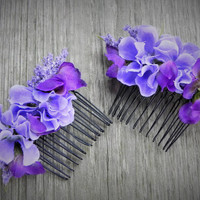 Fairy hair combs. Woman's hair combs, girl's hair combs. Purple and blue, woodland fairy hair accssories.