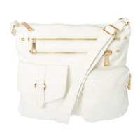 Hudson White Faux Leather Crossbody Bag
