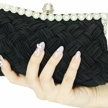 2016 Satin New Single Side Sun Diamond Crystal Evening Bags Clutch Bag Hot Styling Day Clutches For Lady Wedding woman Black red