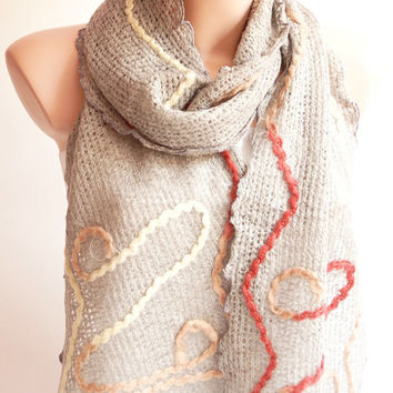 Grey Scarf-Wool Linen scarf - wrap scarf - winter scarf