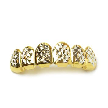 Jewelry Kay style Men's Grillz Fashion 14K Gold Plated Diamond Cut Top Tooth Cap / L 001 G C2