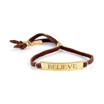 Believe - Inspirational Word Curved Plate on Adjustable leather Tassel Bracelet