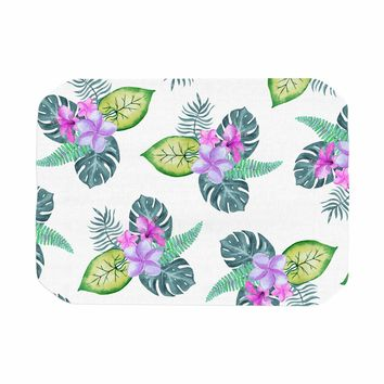 "Sylvia Cook ""Tropical Flowers"" Green Pink Floral Nature Watercolor Digital Place Mat"