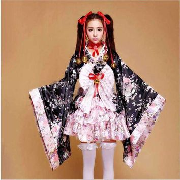 PEAPON Cherry Blossom Costumes Cosplay Anime Outfits Japanese Kimono Maid Outfits Lolita Princess Dress