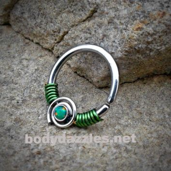 Green Bendable Septum/Cartilage Hoop Ring with Opal Set Spiral 16ga