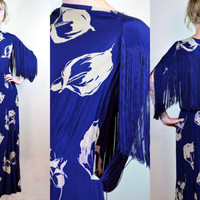 Vintage 1940's Starlet Royal Blue Fringe with Lilies Silk Ground Skimming Evening Dress