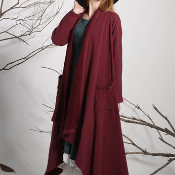 Linen jacket red jacket spring jacket loose tops (1135)