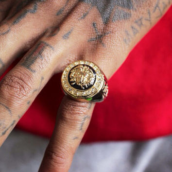 Versace medusa ring by lacedsupplyco on etsy