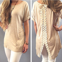 After the split lace blouse stitching Fashion Women Lace Tshirt Summer Vest Top Short Sleeve Casual Tops