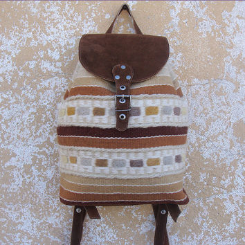 Ladies leather backpack, handwoven wool backpack, brown suede leather backpack, school backpack, holiday backpack, kilim backpack