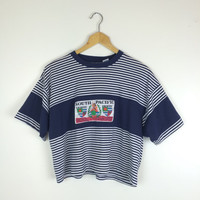 Vintage 90's Gitano South Pacific Stripe Oversized Cropped Tee