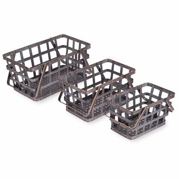 Metal Market Baskets - Set of 3