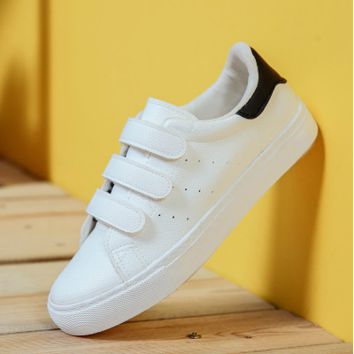 All-match Fashion Velcro Small White Shoes Harajuku Shoes Microfiber Leather Casual Shoes Flats Shoes Student Shoes Plate Shoes  Female Single Shoes
