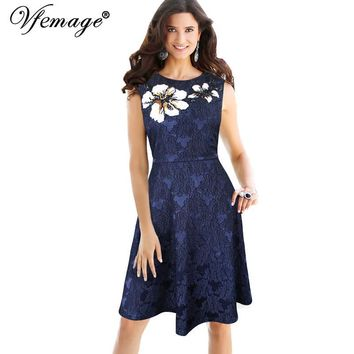 Vfemage Womens Elegant Vintage Floral Applique Embroidery Party Cocktail Special Occasion Fit and Flare Swing A-line Dress 6383