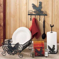 Dish Rack Rooster Kitchen Decor Black Metal Country Farm Rustic Primitive NEW
