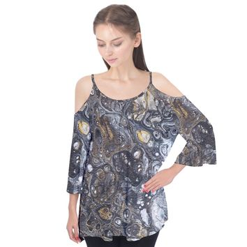 Golden Bubbles Flutter Sleeve Tee