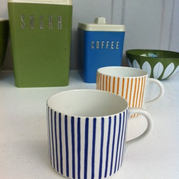 Rörstrand Sweden Kadett tea cup/espresso demitasse! 1950s blue stripe ceramic cup by Hertha Bengtsson.