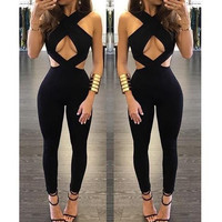 Backless Hollow Out Cross Halter Tight Dress