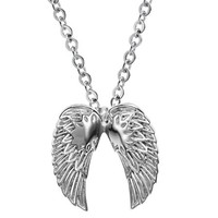 Double Angel Wings Dangling Charm Pendant Silver Stainless Steel Necklace