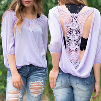 Lace Back Half-Sleeve Chiffon Blouse