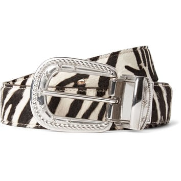TAKAHIROMIYASHITA TheSoloist. - 3cm Reversible Zebra and Leopard-Print Calf Hair Belt