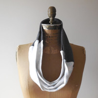 T Shirt Infinity Scarf / Charcoal Gray / White / Blue / Winter / Snowflakes / Upcycled / Recycled / Cotton / Soft / Fashion / ohzie