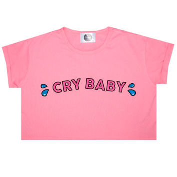 CRY BABY CROP TOP T SHIRT WOMENS FUN KAWAII CUTE GRUNGE TUMBLR FASHION PINK NEW