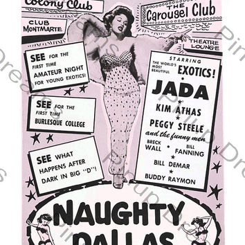 Vintage Burlesque Poster Naughty Dallas re-print A3 Size (Get Any 3 For The Price of 2)