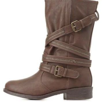 Bamboo Zipper-Belted Mid-Calf Moto Boots by Charlotte Russe