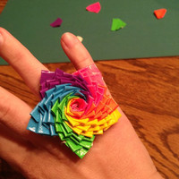 Rainbow Star Duct Tape Ring