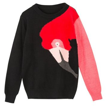 Black flamingo turtleneck quilted sweater winter woman