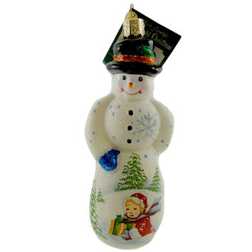 Old World Christmas GLISTENING GENTLEMAN SNOWMAN Glass Ornament 24129