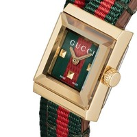 GUCCI Stylish Couple Red Green Stripe Canvas Spiral Wound Square Quartz Watch Wrist Watch