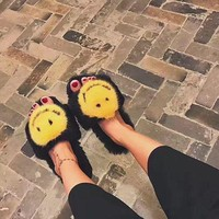 DCCK2JE Woman Fashion Fall Cute Mink Fur Smile Face Slippers Black Luxury Fur Slippers
