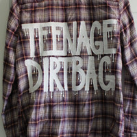 """5 Seconds of Summer 5SOS / One Direction Inspired """"TEENAGE DIRTBAG"""" Flannel Womens M"""
