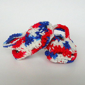 Patriotic Crocheted 3 To 6 Month Baby Girl Sandals Red White Blue Infant Boy Booties July 4 Summer Clothing