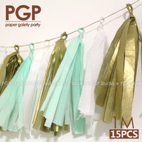 [PGP] Mint & Gold Tissue Paper Tassel Garland, 100cm, for baby shower Kids Girls Boys Birthday Party Wedding Decorations
