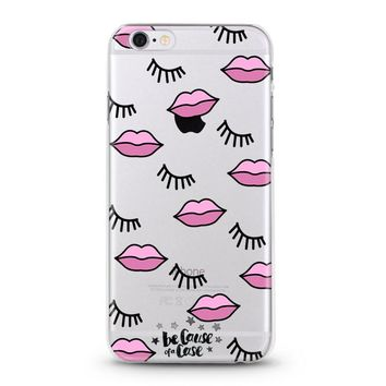 Pink Lips and Lashes Clear Case