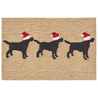 Trans Ocean Frontporch 3 Dogs Christmas Area Rug