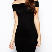 Black Slash Collar Cut Out Bodycon Dress