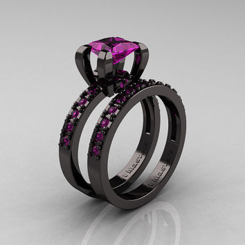 Modern French 14K Black Gold 1.0 Carat Princess Amethyst Engagement Ring, Weding Band Bridal Set AR125S-14KBGAM
