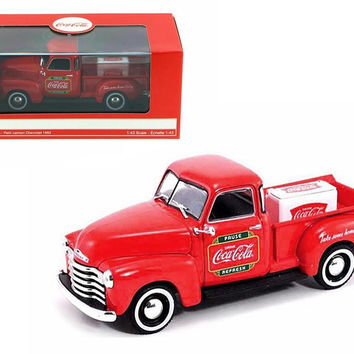 1953 Chevrolet Pickup Truck with Metal Cooler Coca Cola 1-43 Diecast Model by Motorcity Classics