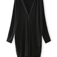 Black Kaftans Deep V Neck Asymmetrical Loose Dress