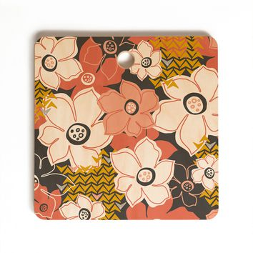 Heather Dutton Petals And Pods Lava Cutting Board Square