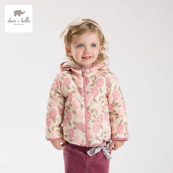 DB4258 davebella girls floral autumn outerwear children coat