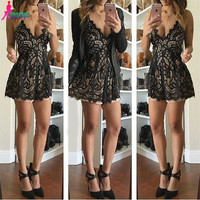 Gagaopt New 2016 Women Jumpsuits & Rompers Fashion Lace Patchwork Sleeveless V-neck Sexy Jumpsuit Free Shipping Monos Macacao