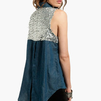 Sparkle Back Denim Shirt $39