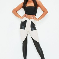 Missguided - White Faux Leather Colour Block Pants